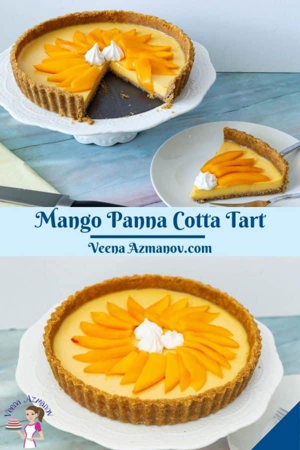 Pinterest image for panna cotta tart with fresh mangoes.