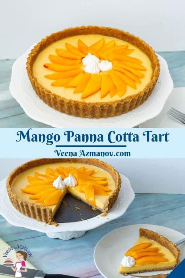 Pinterest image for panna cotta tart with mango.