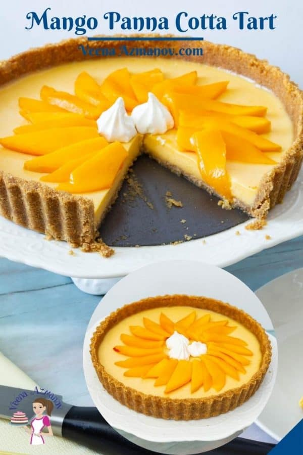 Pinterest image for panna cotta tart with mangoes.