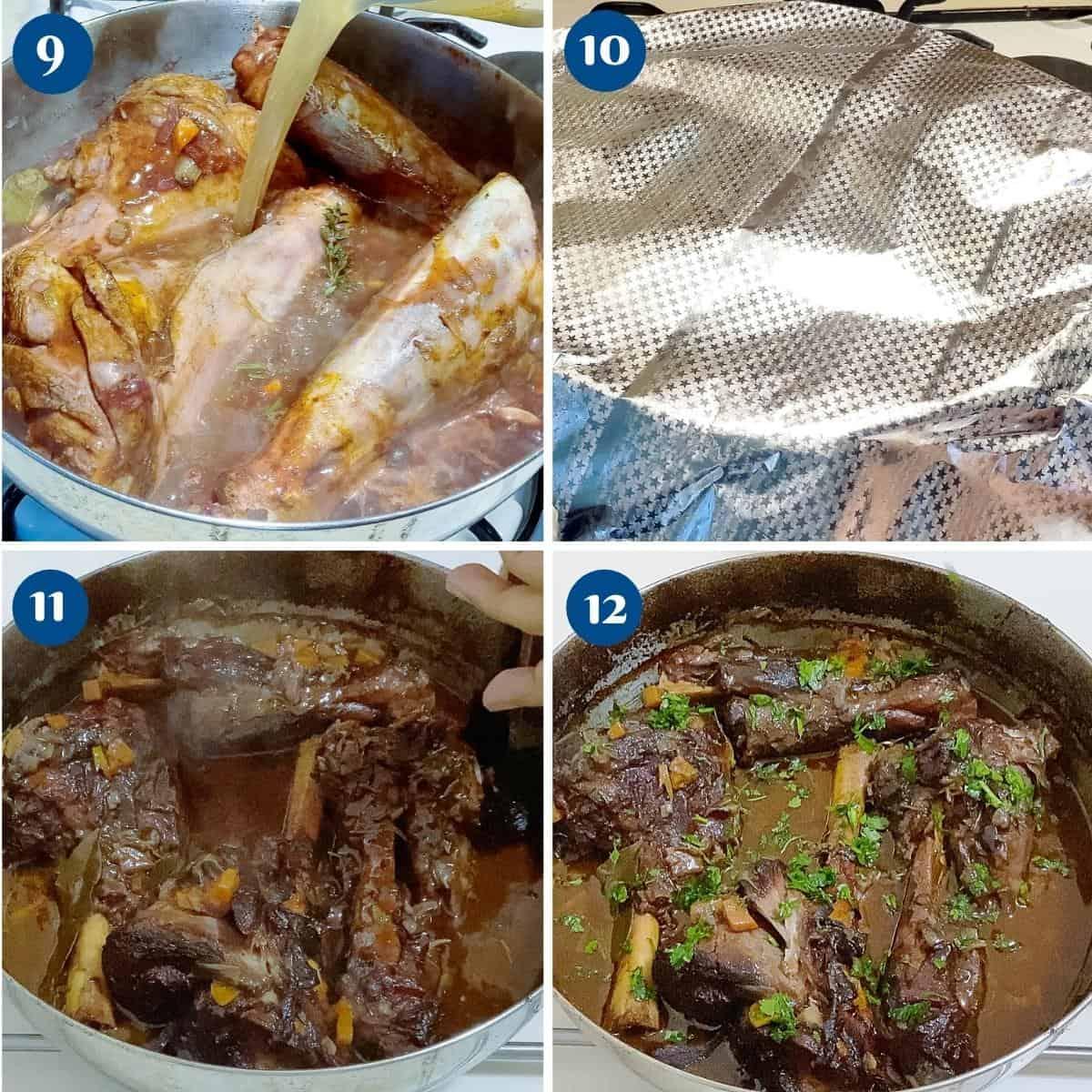 Progress pictures baking the lamb shanks.