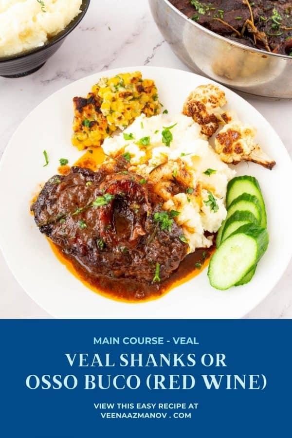 Pinterest image recipe for veal shanks.