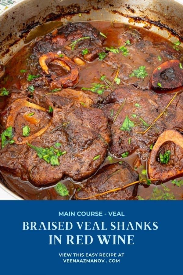 Pinterest image for braised veal shanks.