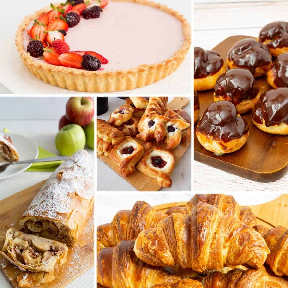 Collage of pastries for the free online pastry course.