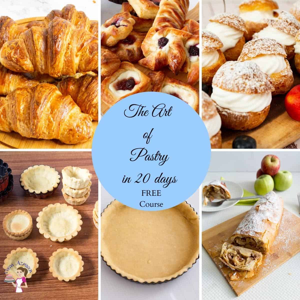 A collage of pastries for the online course.