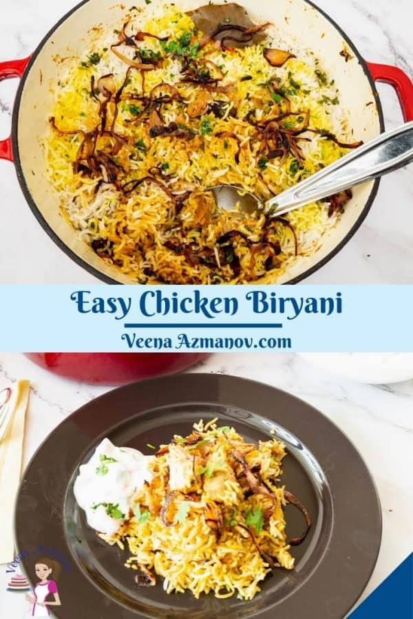 Pinterest image for biryani with chicken.
