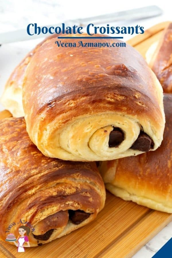 Pinterest image for croissant with chocolate.