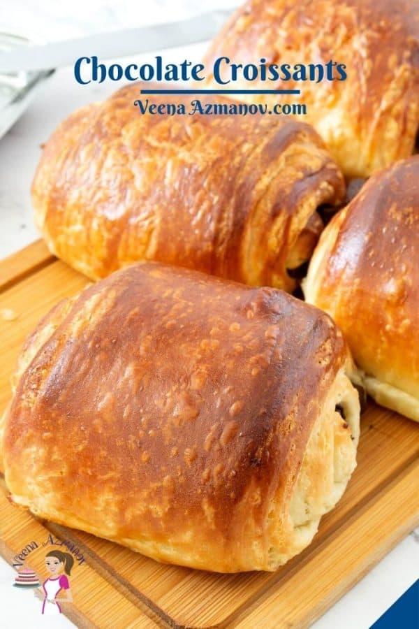 Pinterest image for chocolate croissants.