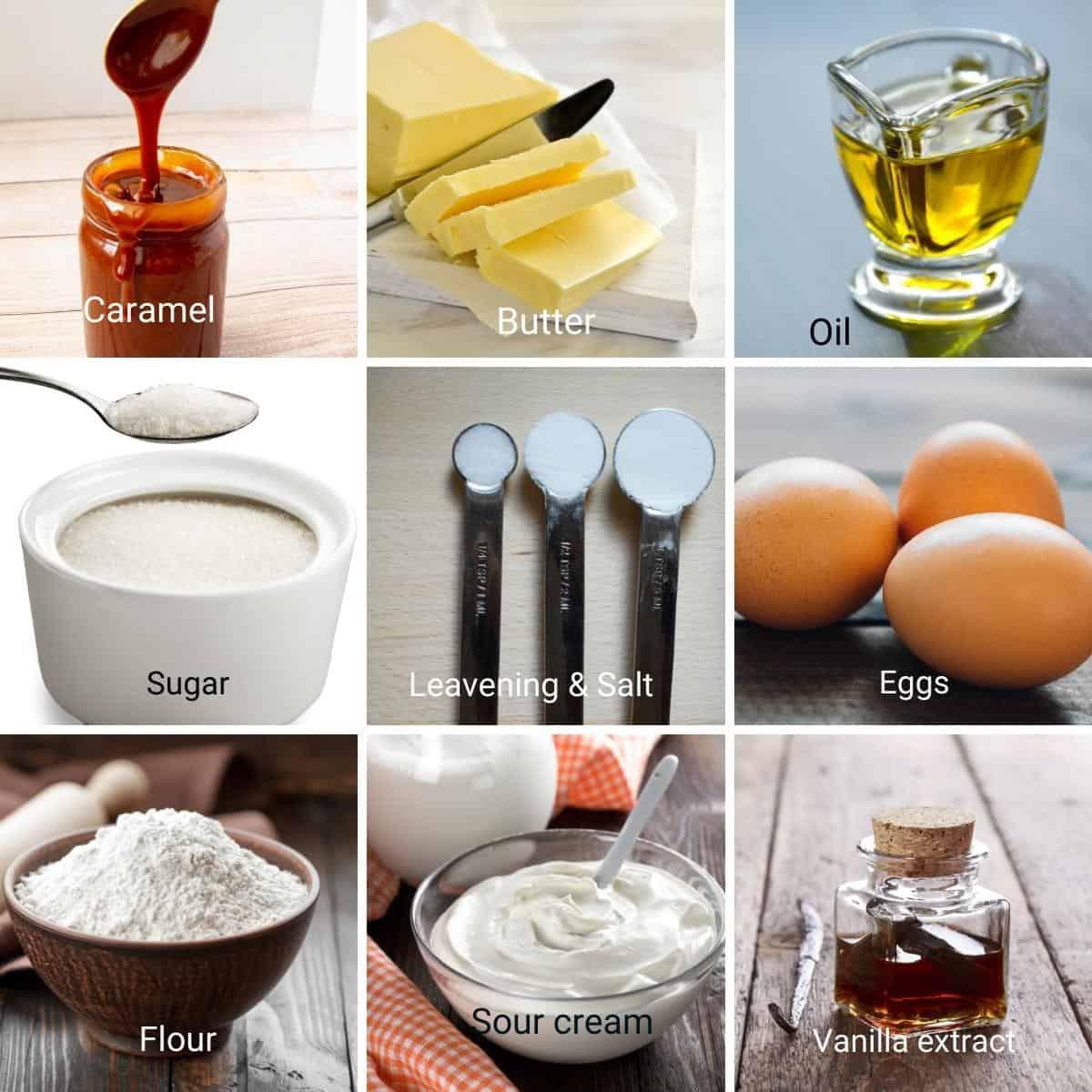 Ingredients for alphabet cake recipe.