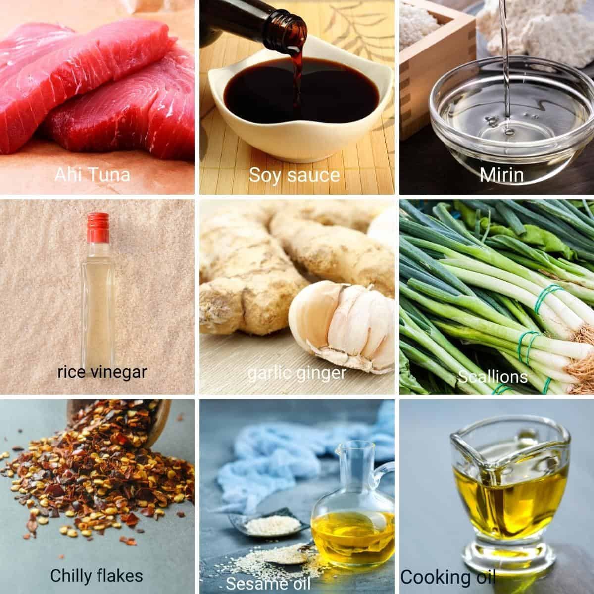 Ingredients for pan seared ahi tuna.