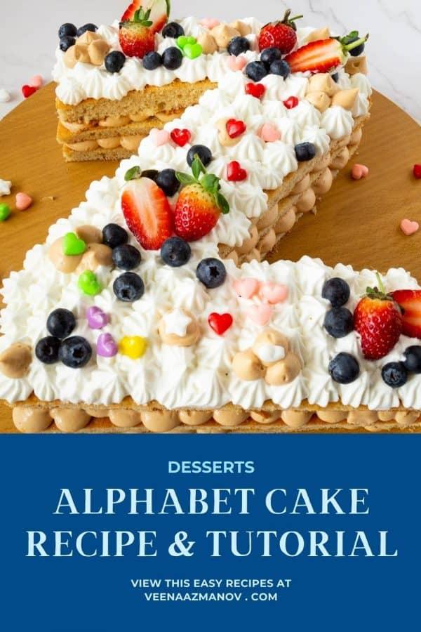 Pinterest image for Letter Z cake.