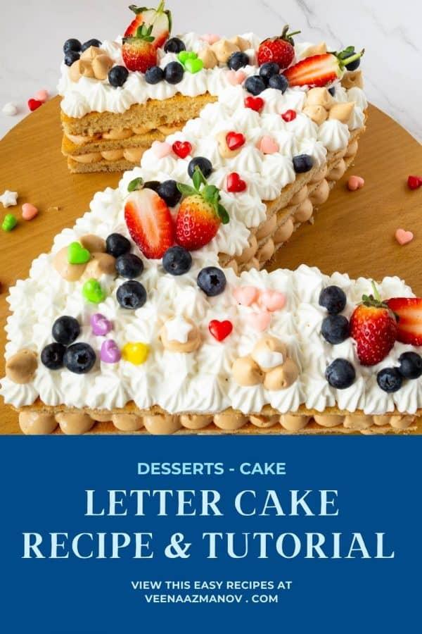 Pinterest image for the alphabet Z cake.