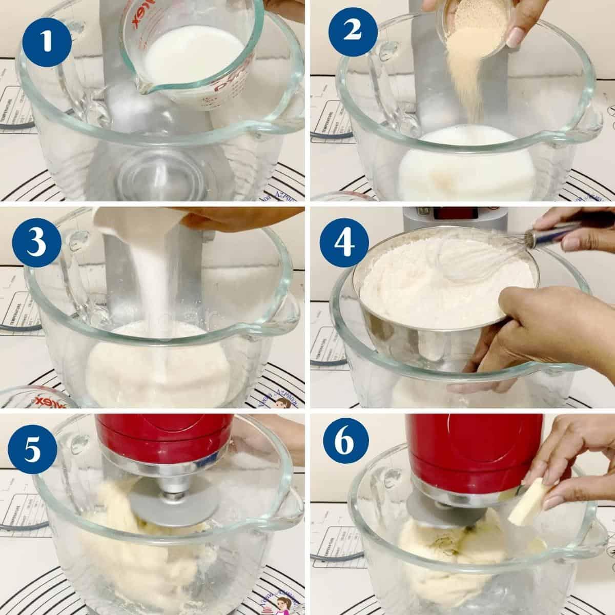 Progress pictures collage making the croissants dough.