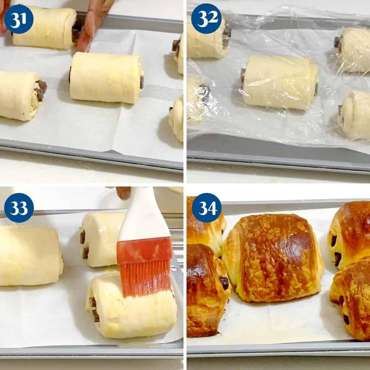 Progress pictures collage baking the croissants.