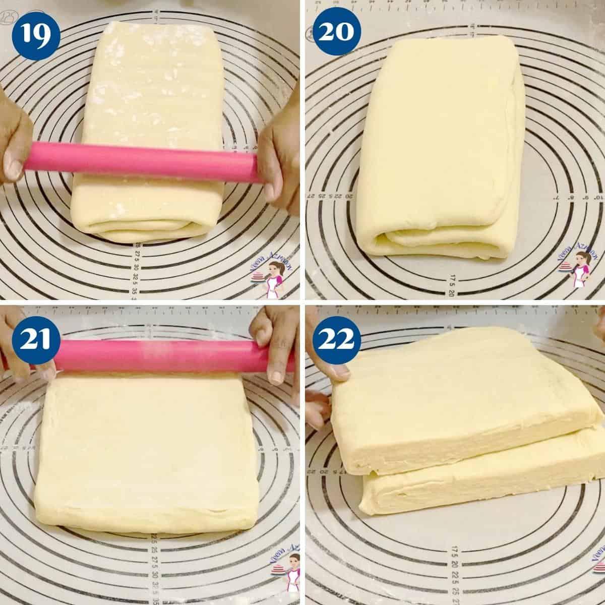 Progress pictures collage folding the croissants dough.