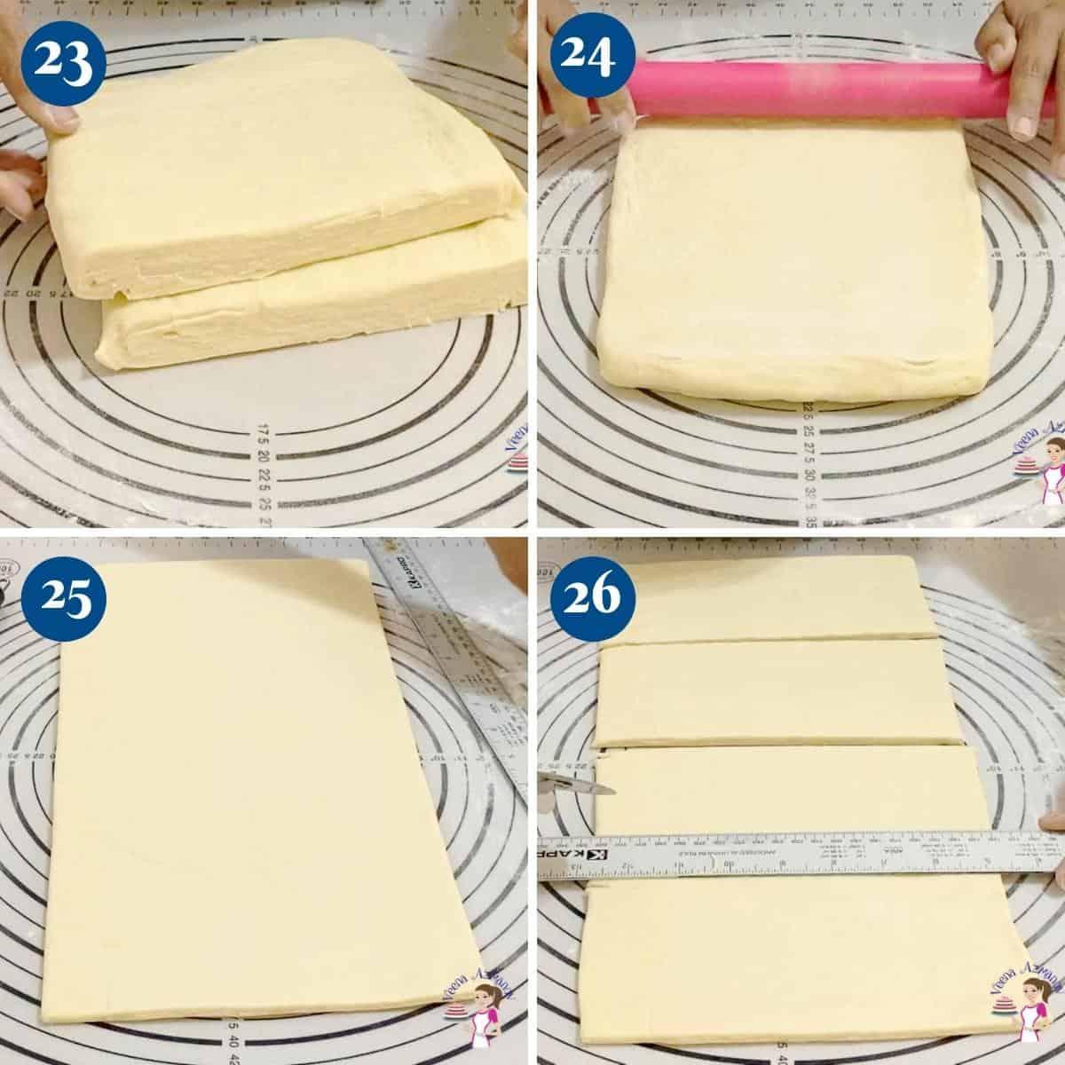 Progress pictures collage cutting the croissants dough.