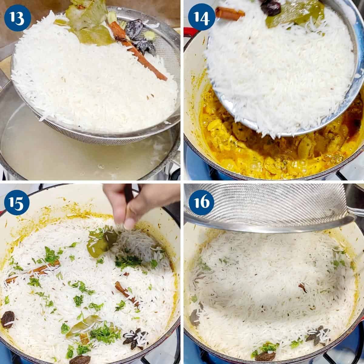Progress pictures layering the chicken and rice for biryani.