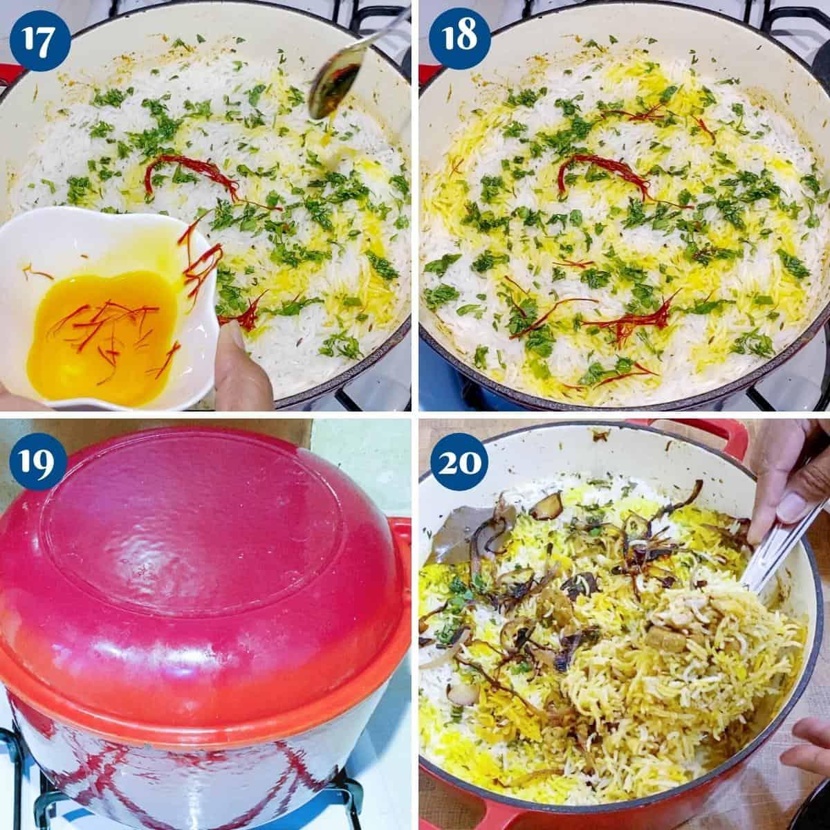 Progress pictures cooking biryani in Dutch oven.