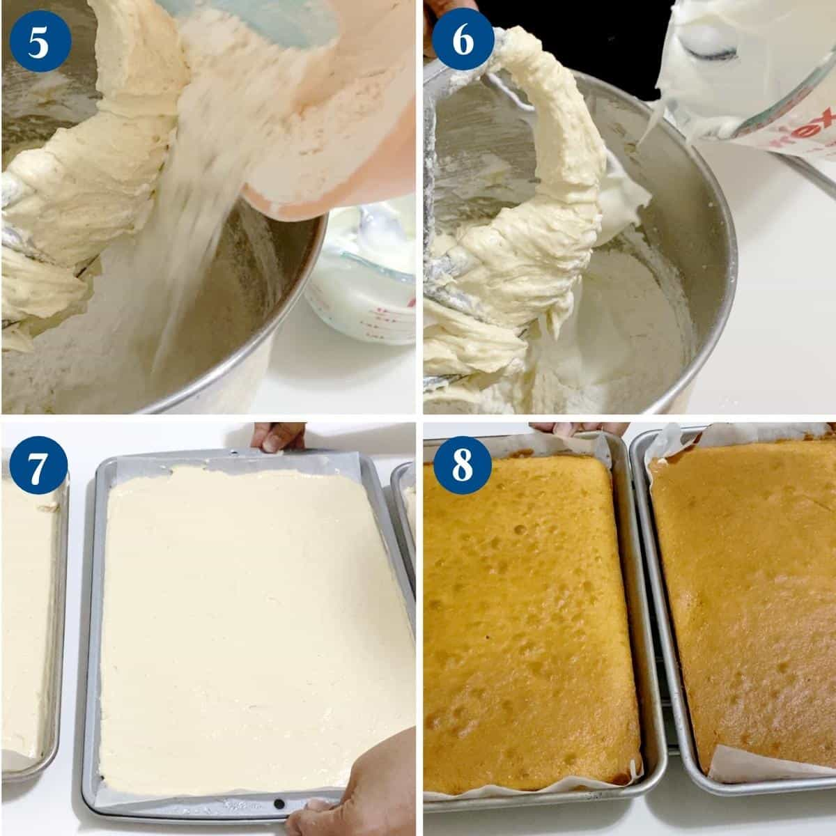 Progress pictures collage making cake batter.
