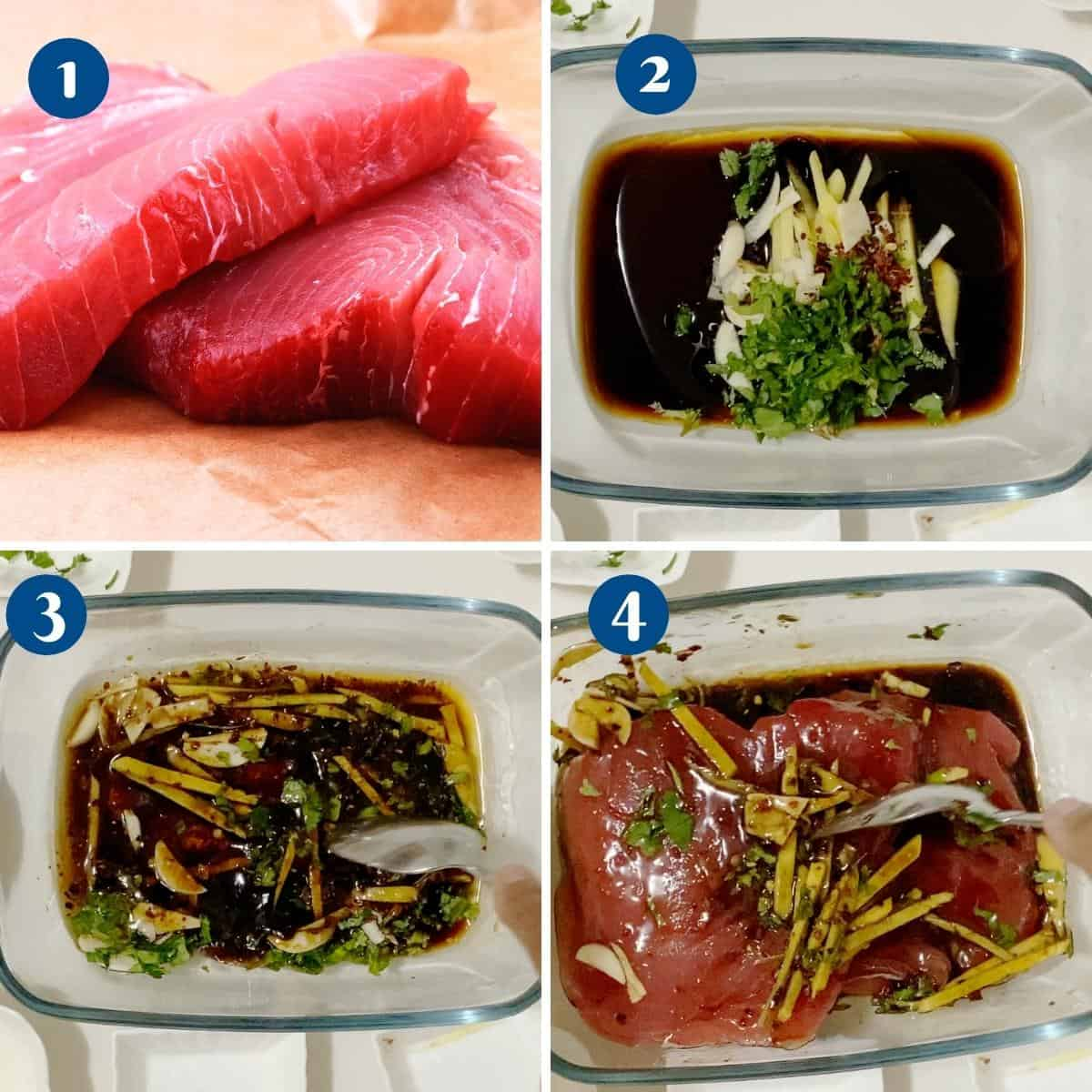 Progress pictures collage marinating the ahi tuna.