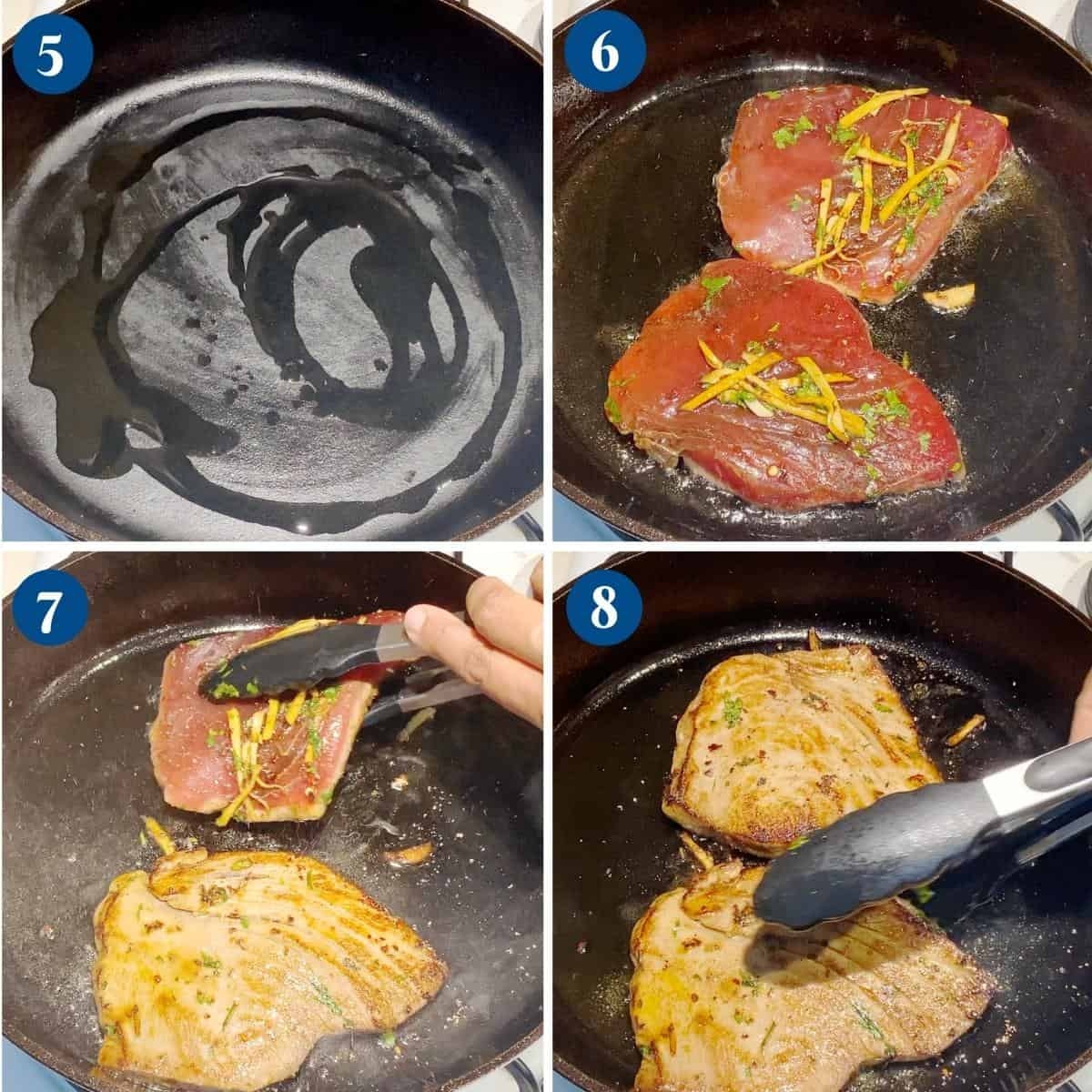 Progress pictures collage searing the tuna steak.