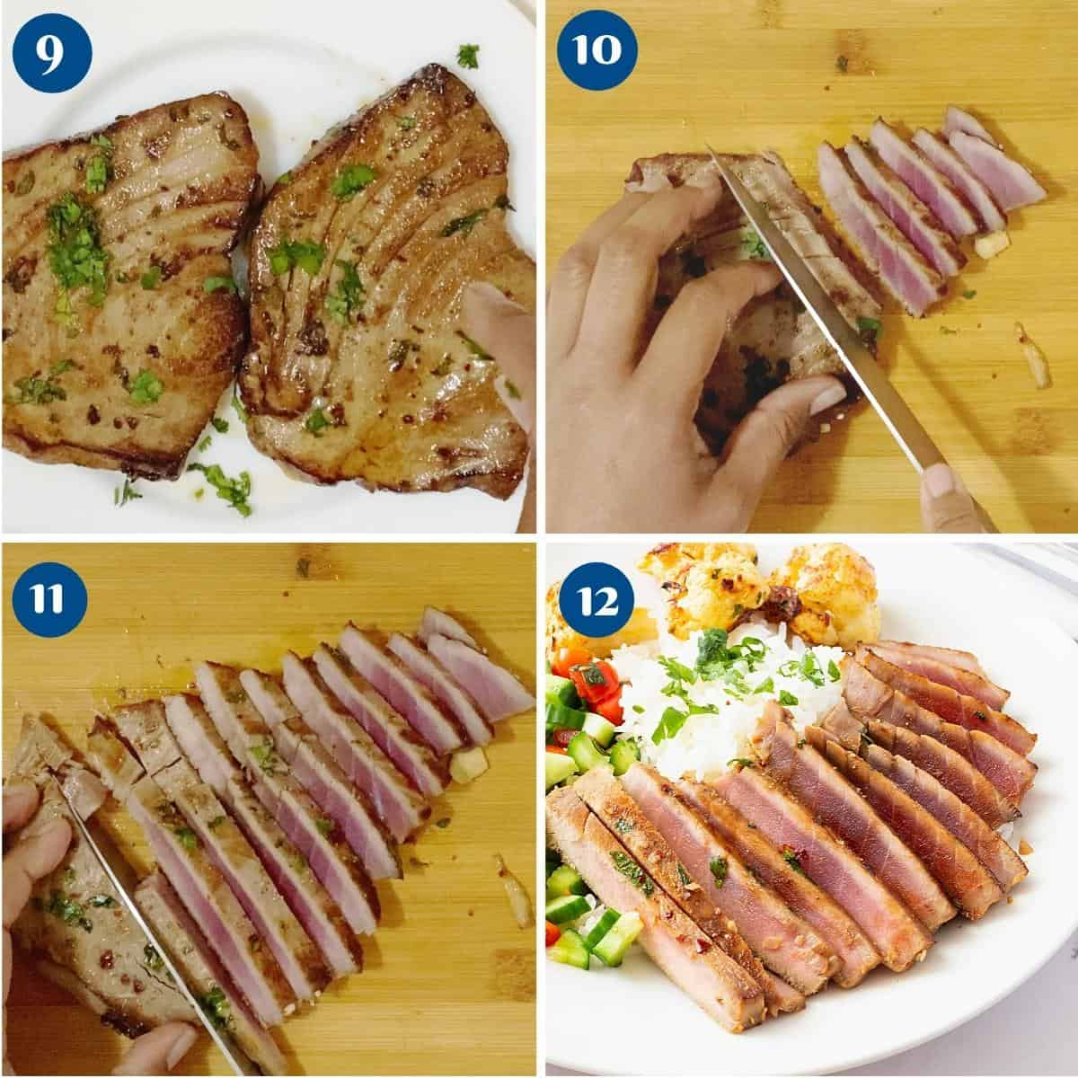 Progress pictures collage slicing the seared ahi tuna.