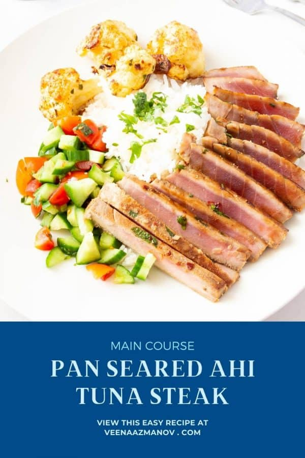 Pinterest image for seared ahi tuna.