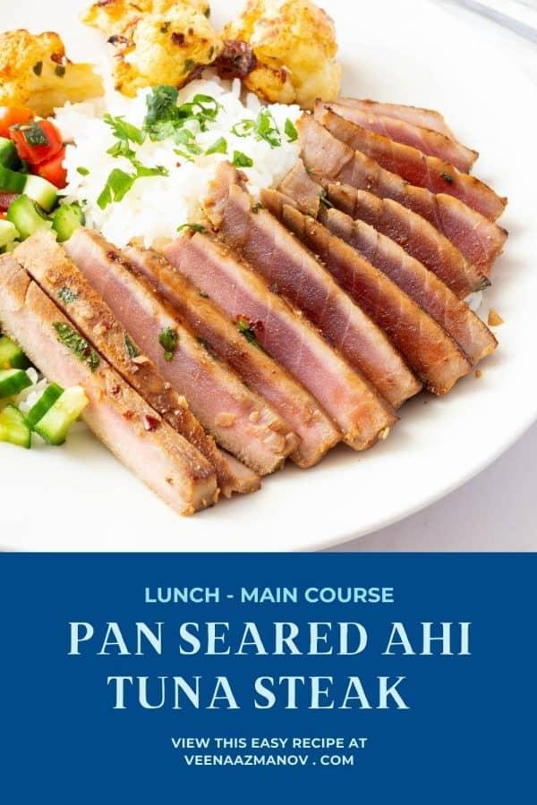 Pinterest image for pan seared ahi tuna.