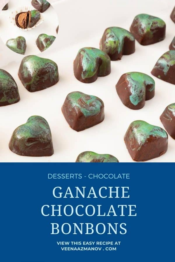 Pinterest image for bonbons with ganache.