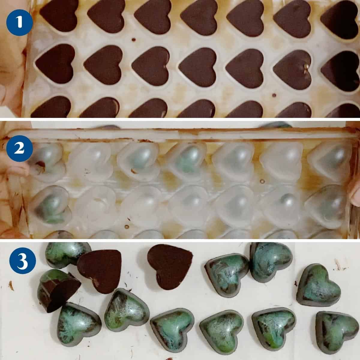 Progress pictures collage removing the bonbons from the mold.