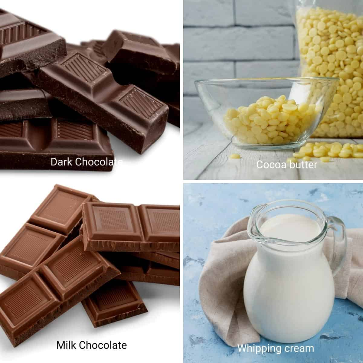 Ingredients for chocolate bonbons.