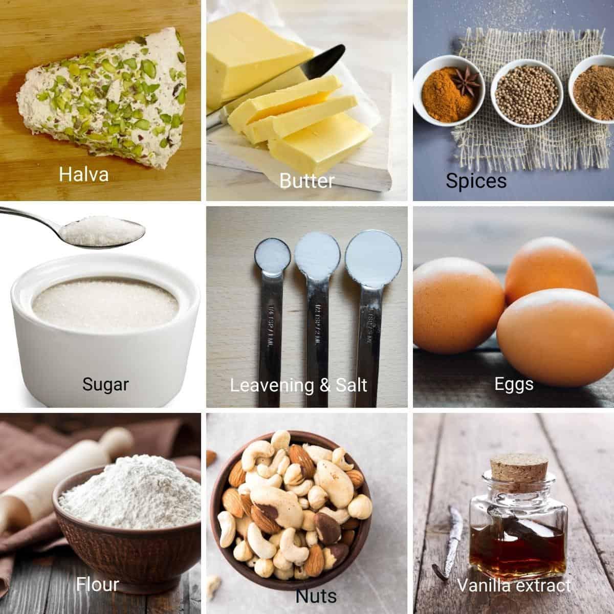 Ingredients for halva cookies.