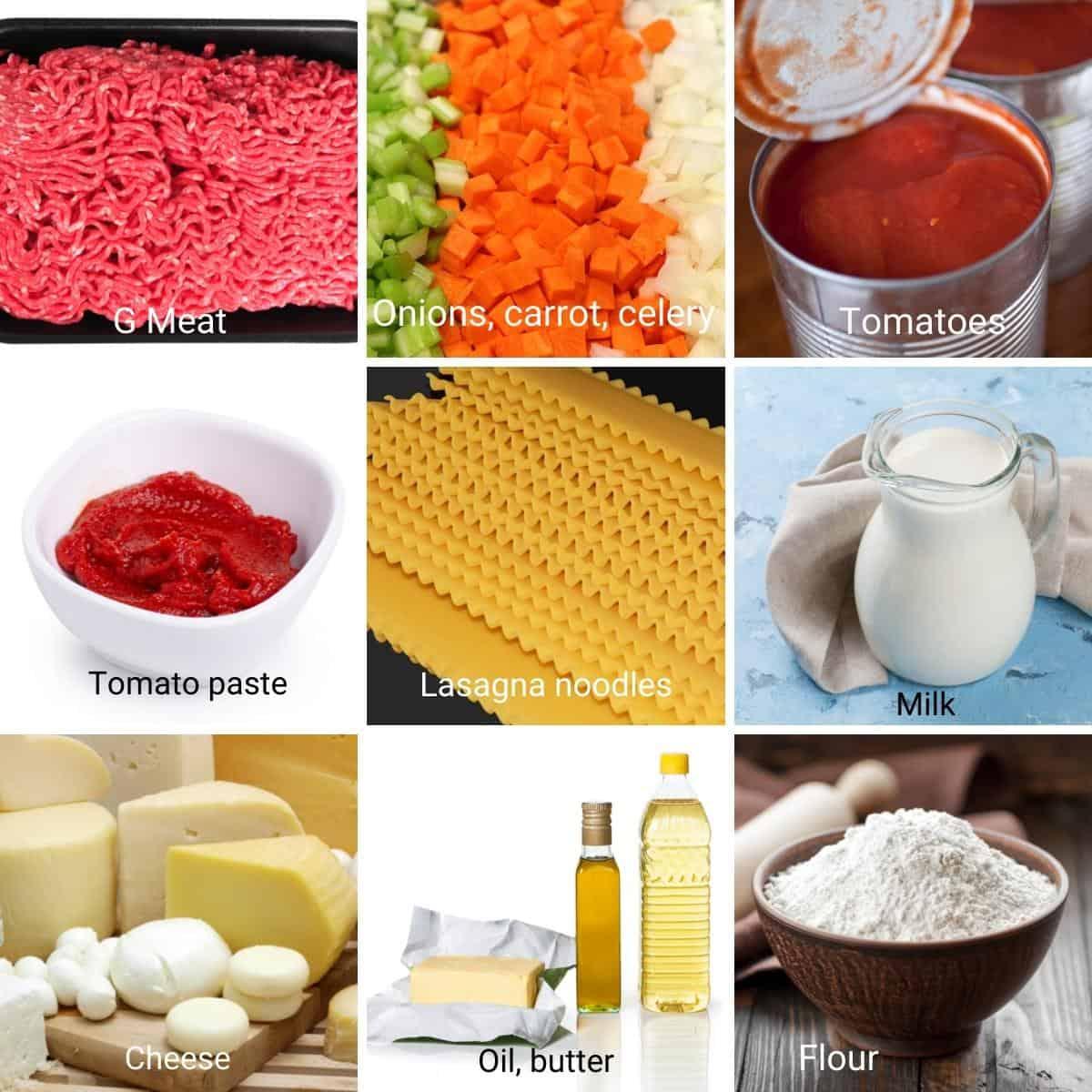 Ingredients for making lasagna with Bechamel sauce.