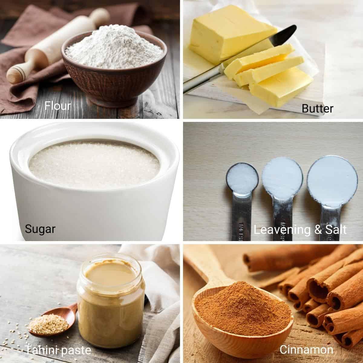 Ingredients for tahini cookies.