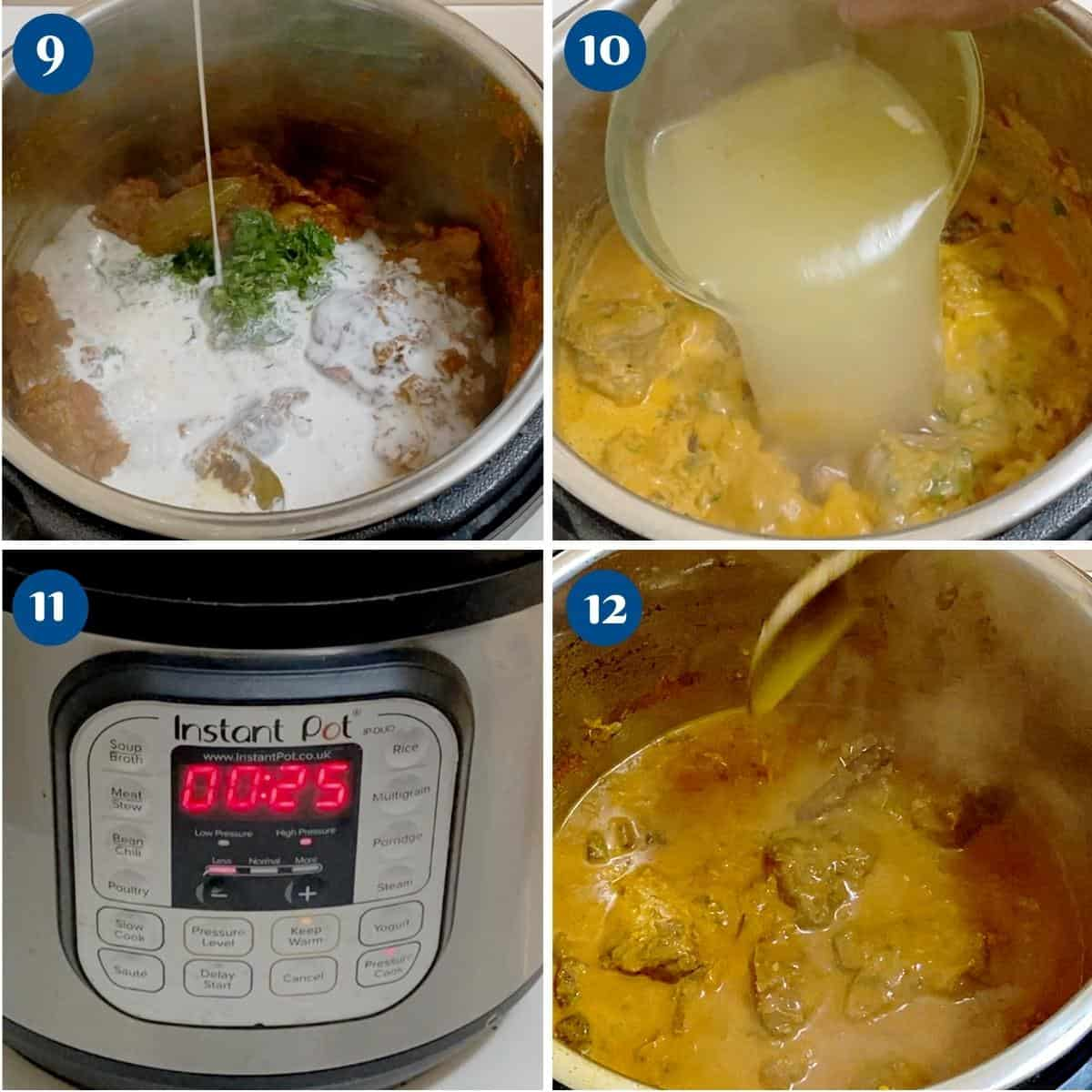 Progress pictures collage making lamb curry in instant pot.
