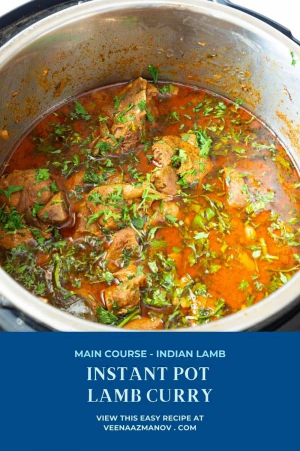 Pinterest image for lamb curry in instant pot or pressure cooker