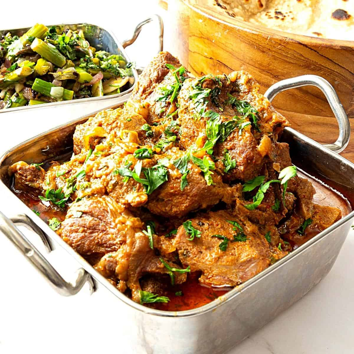 An Indian dish with lamb curry.