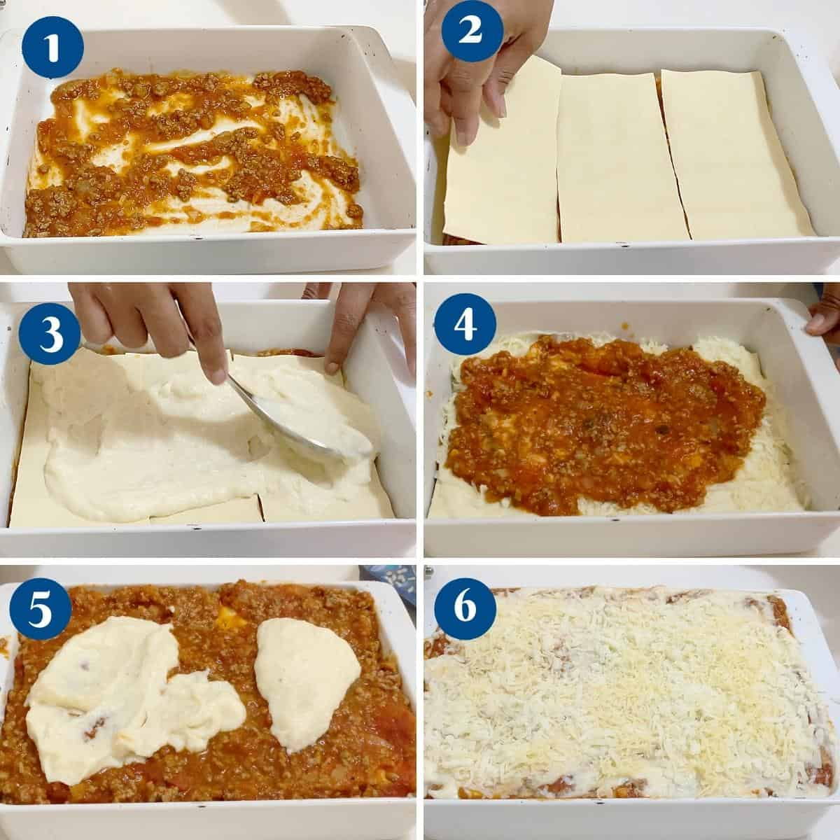Progress pictures collage layering the lasagna.