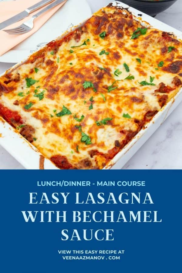 Pinterest image for lasagna with white sauce.