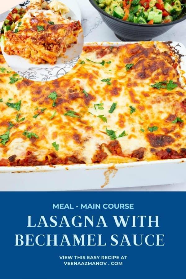 Pinterest image for lasagna with béchamel sauce.