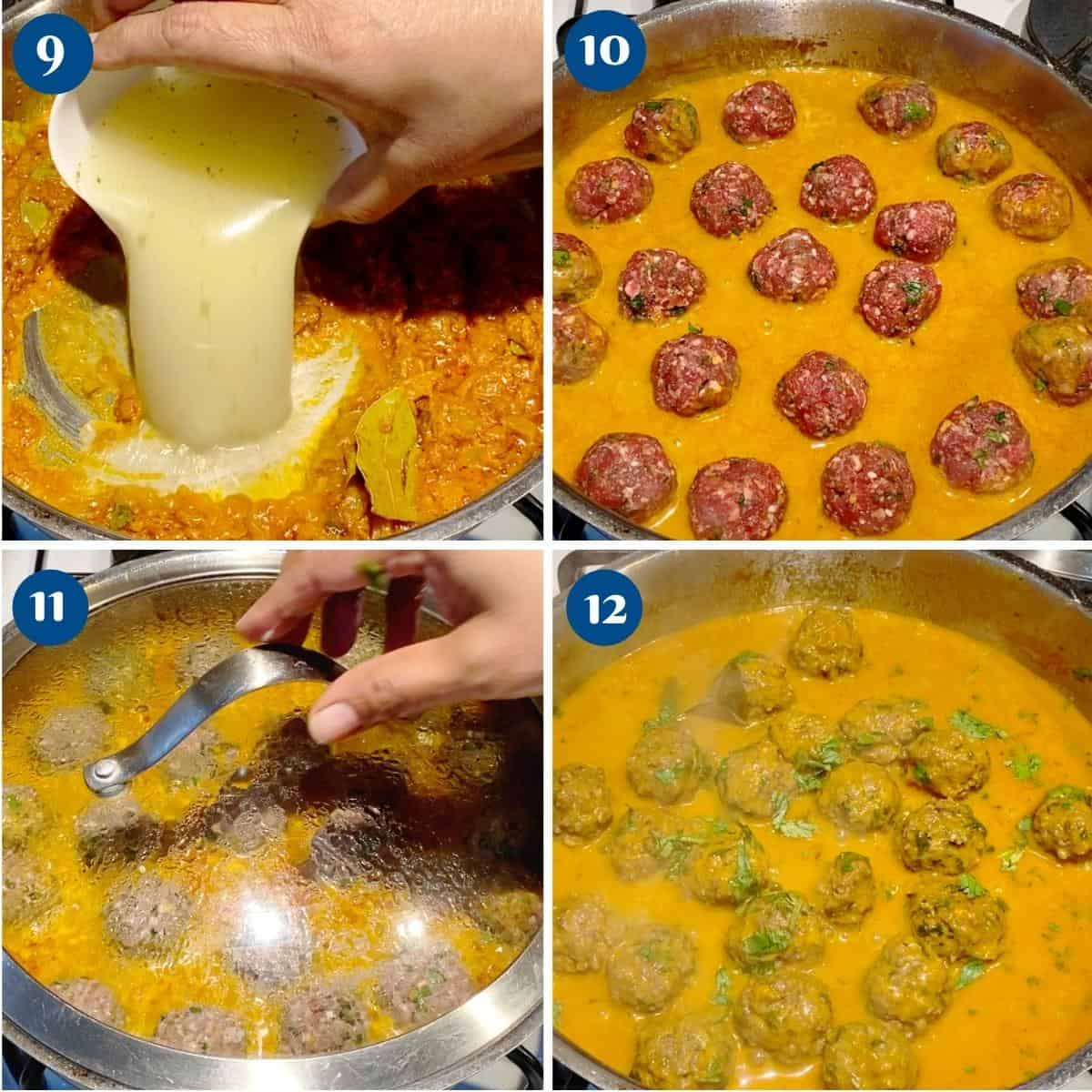 Progress pictures collage making the kofta curry.