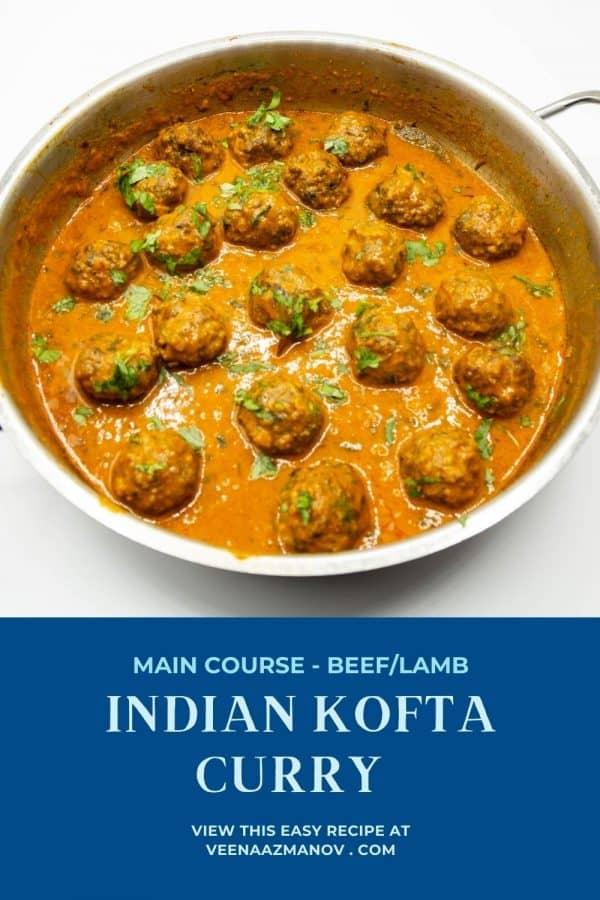 Pinterest image for kofta curry recipe.