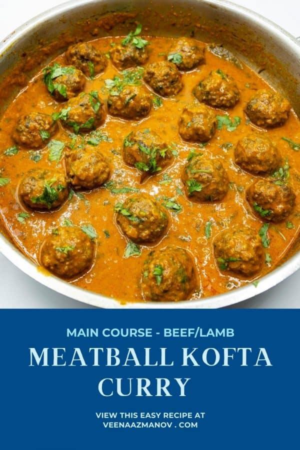 Pinterest image for meatball kofta.