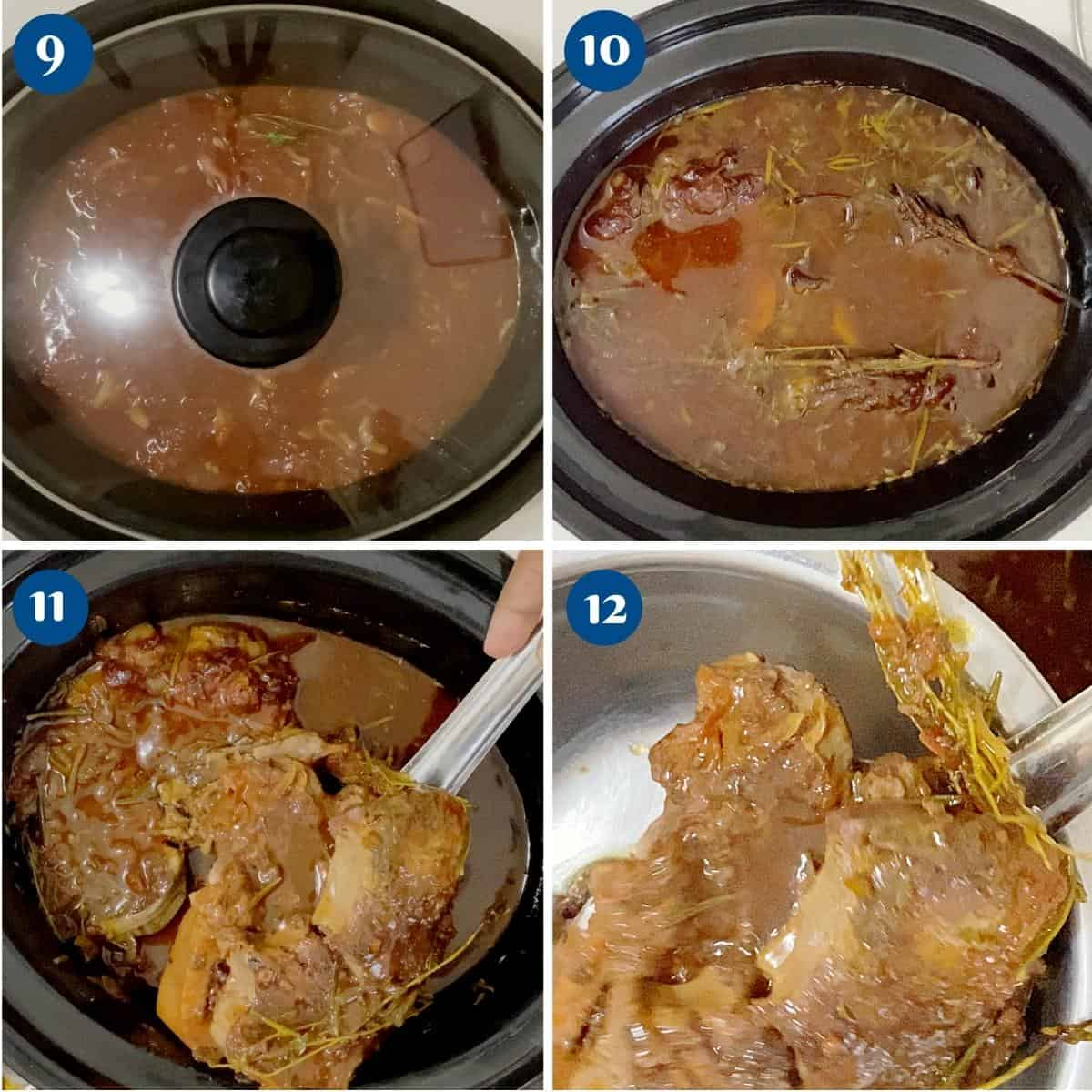 Progress pictures cooking the shanks in the slow cooker.