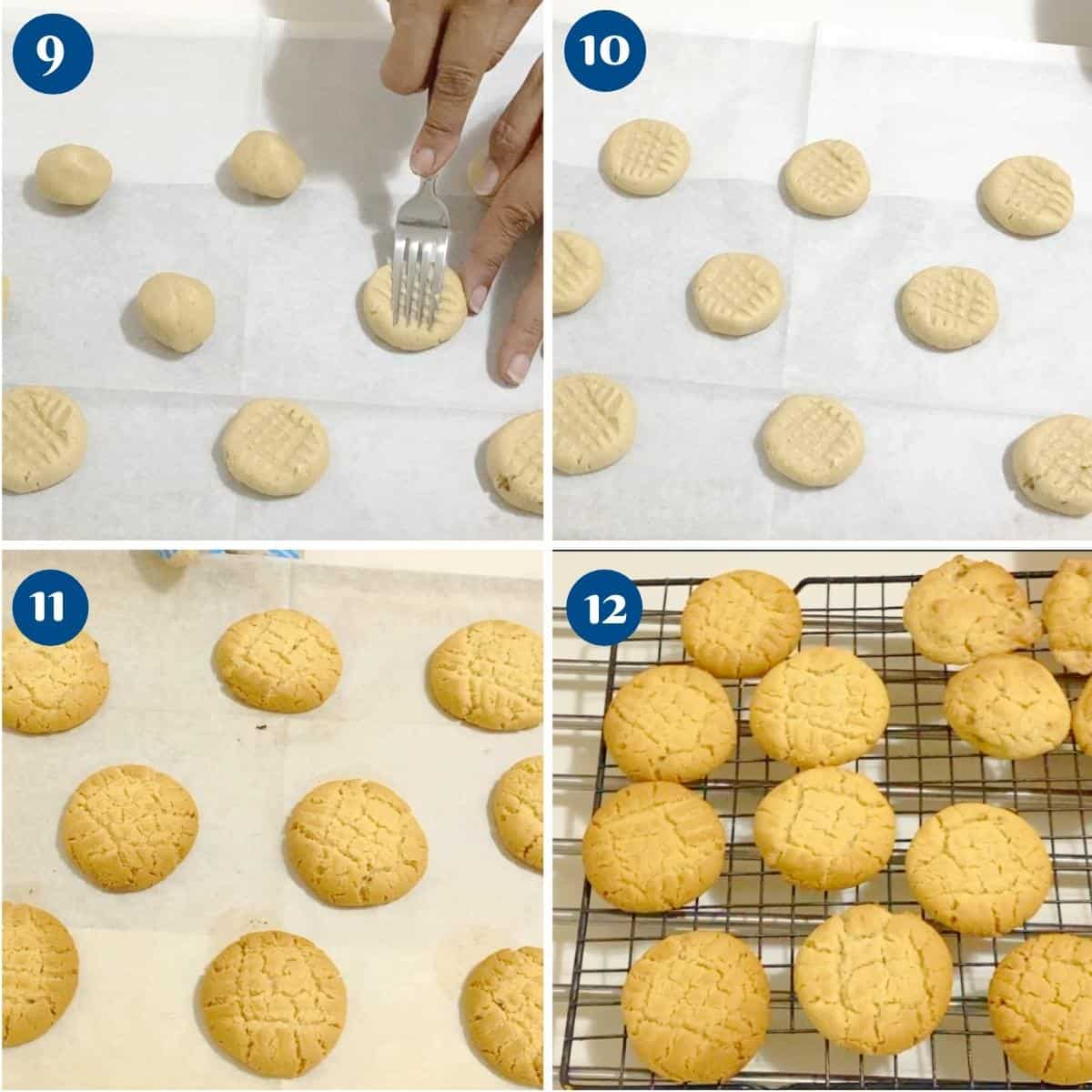 Progress pictures collage for tahini cookies.