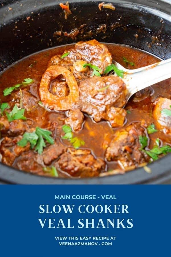 Pinterest image for shanks made in slow cooker .