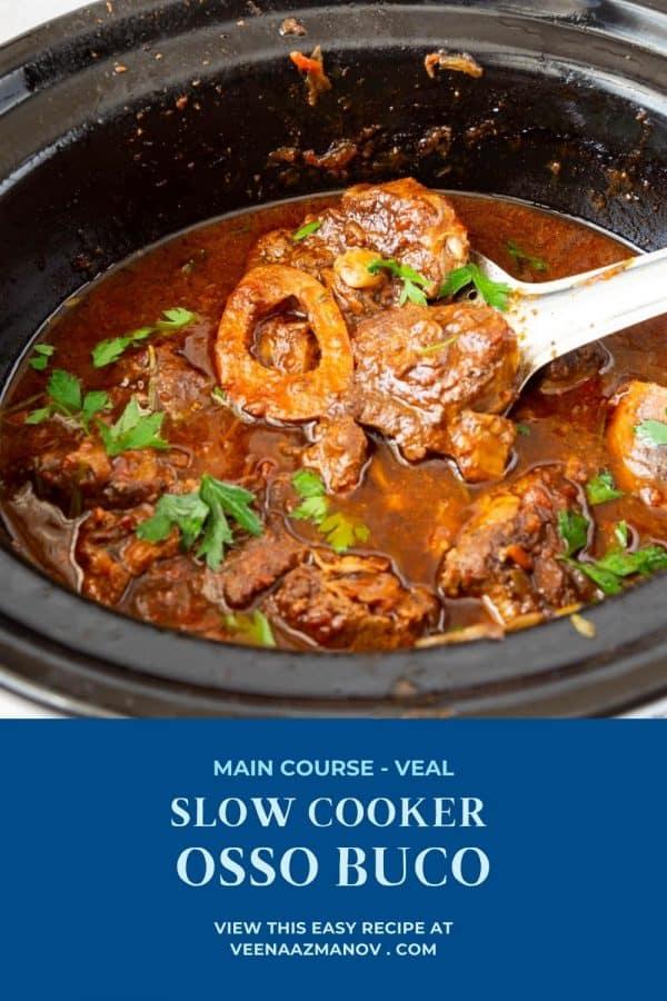 Pinterest image for slow cooker veal shanks.