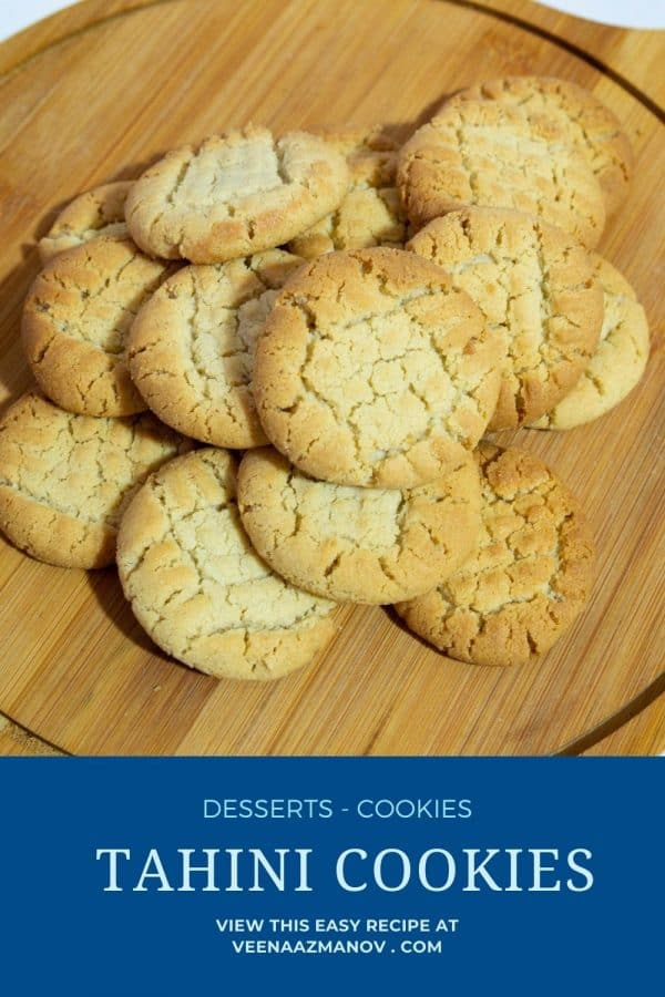 Pinterest image for cookies with tahini.