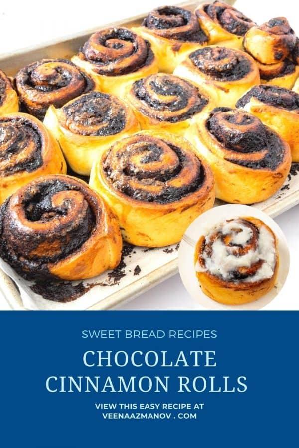 Pinterest image for chocolate cinnamon rolls.