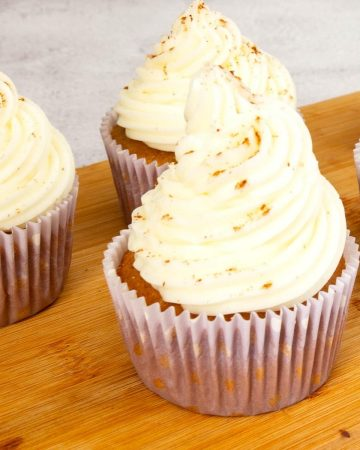 Frosted cupcakes with honey frosting.