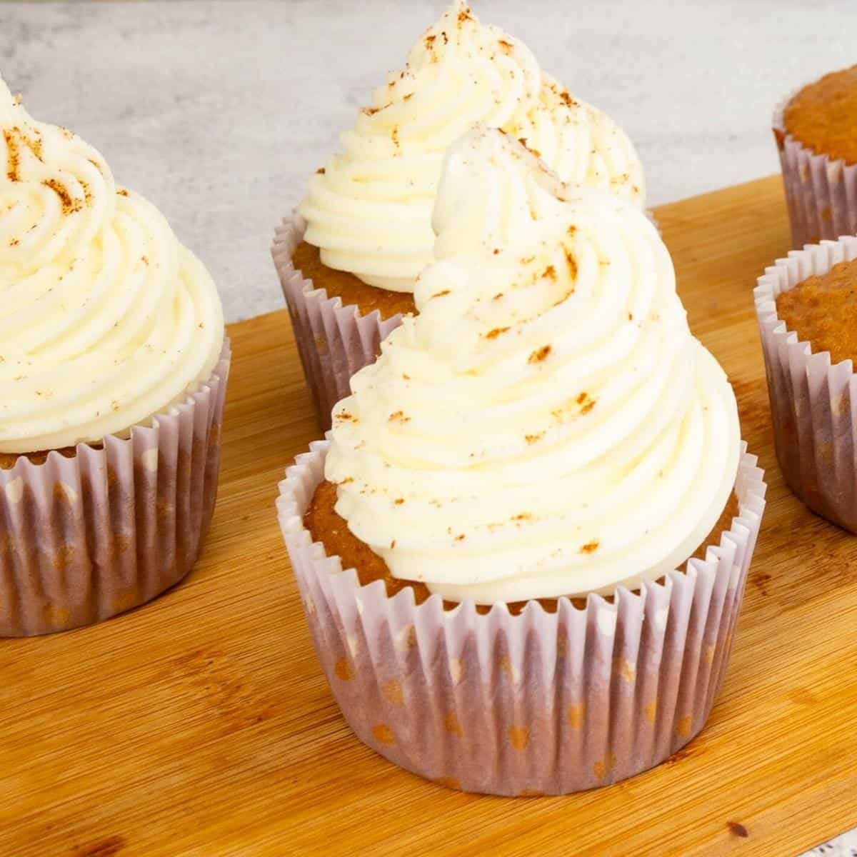Honey cupcakes frosted with honey buttercream.